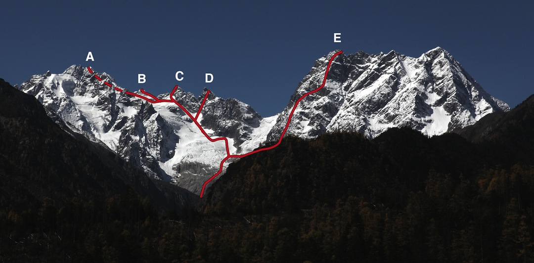 The east faces of the Baima Xueshan. (A) Duochubomubadeng, (B) Peak 5,288m, (C) Peak 5,295m, (D) Peak 5,250m, and (E) Zhalaqueni South Summit. Routes of 2012 ascents are shown. To the right of (E) is Zhalaqueni main summit.