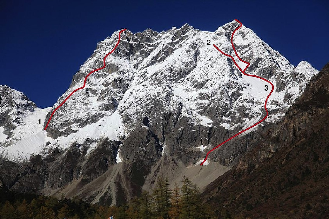 The east face of Zhalaqueni. (1) Road of Progress, to the South Summit. (2) Jing brothers attempt in 2006 on main summit. (3) Excavator, climbed in the winter of 2013.