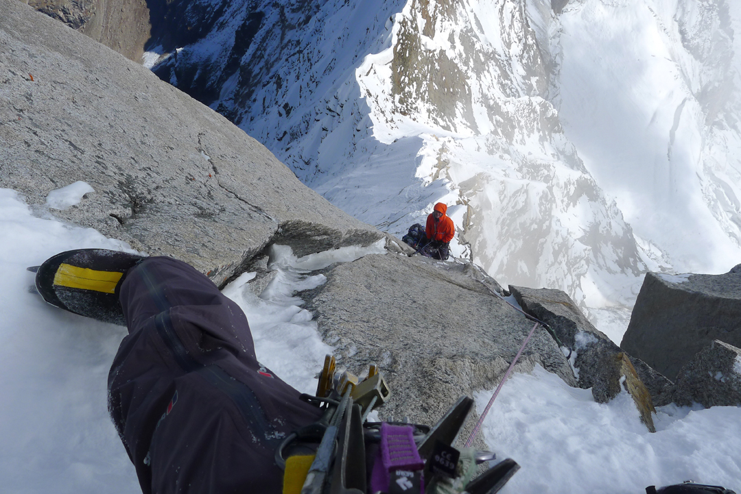 Mid-pitch on the first third of the Prow. A view down to Paul Ramsden on belay during the fifth day out from base camp.