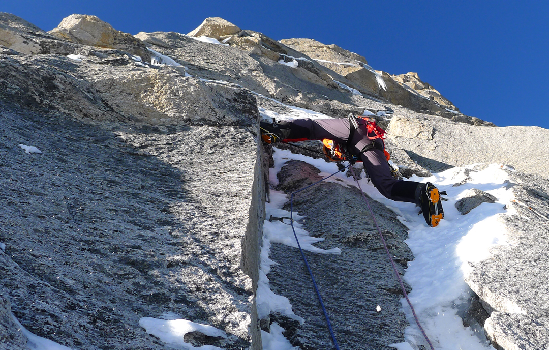 Paul Ramsden works through steep granite on the lower third of the Prow, five days out from base camp.