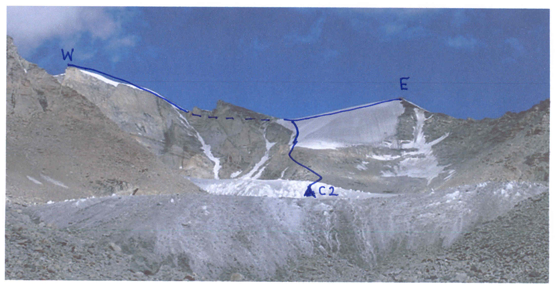 Camp 2, east (right) and west summits of Nga Tsoey Kangri, showing route of ascent.