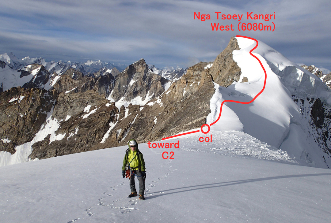 Route to the west (higher) top of Nga Tsoey Kangri from near to the east top. Camp 2 is down to the left.
