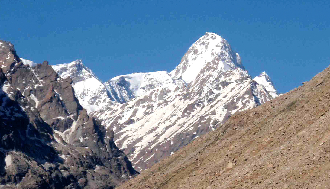 Unclimbed T4 (6,294m, centre) and behind and to the right T6 (5,995m).