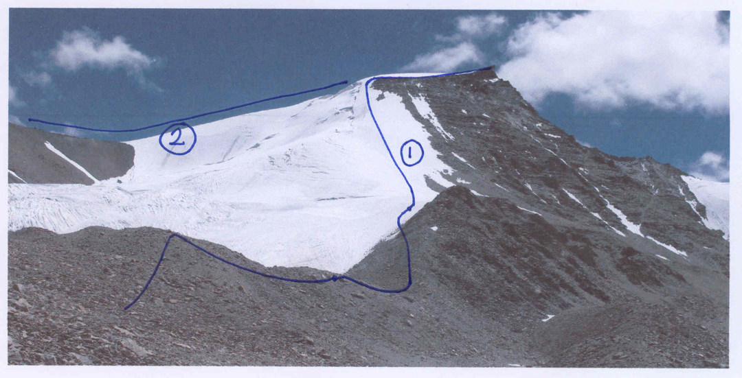 Lama Soo from the north showing (1) route of first ascent, and (2) east ridge descent to peaks 5,820m and 5,795m. Skilma Kangri is off picture right.