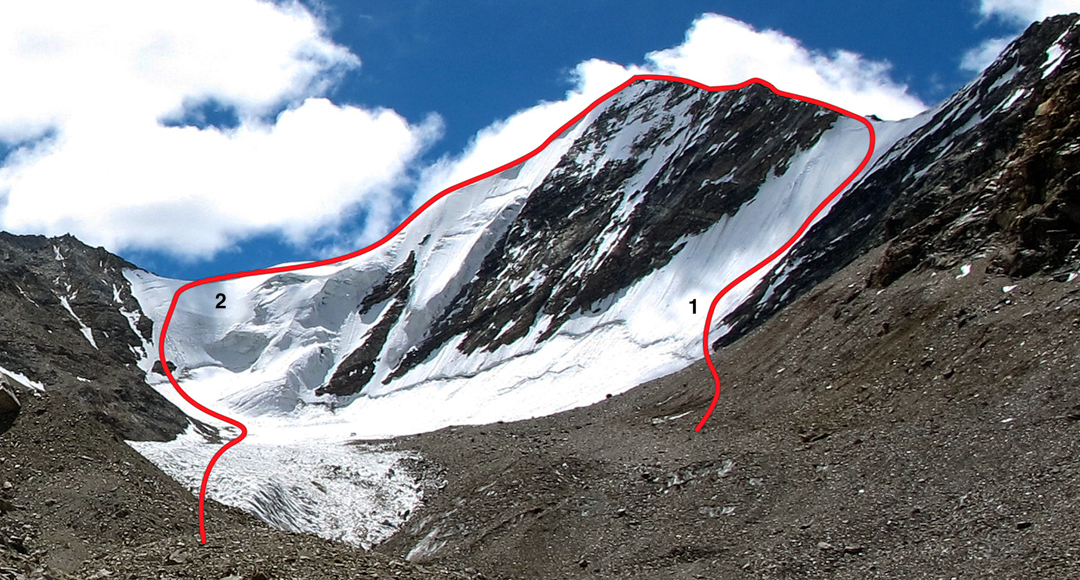 Skilma Kangri showing (1) north face to west ridge (first ascent), and (2) east ridge. Lama Soo is just off picture left.
