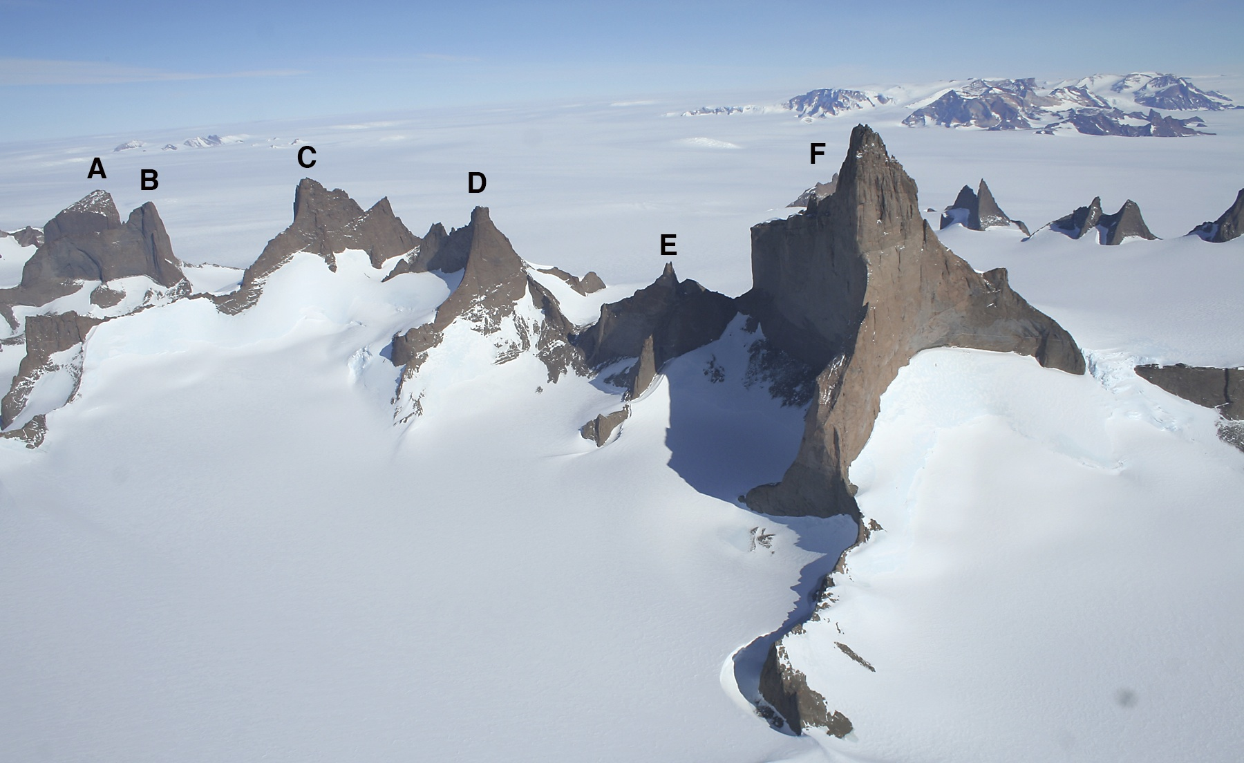 The spectacular Ulvetanna group from the northeast. (A) Holtanna (2,650m). (B) Holsttind (2,577m). (C) Kinntanna (2,724m). (D) Stetind (2,558m). (E) Hel (2,335m). (F) Ulvetanna (2,931m). The northeast ridge divides the sunlit north face from the east face. The north face is around the same height as El Capitan, while the unclimbed east face is 300m higher. Peaks of the Filchnerfjella are visible in the distance.
