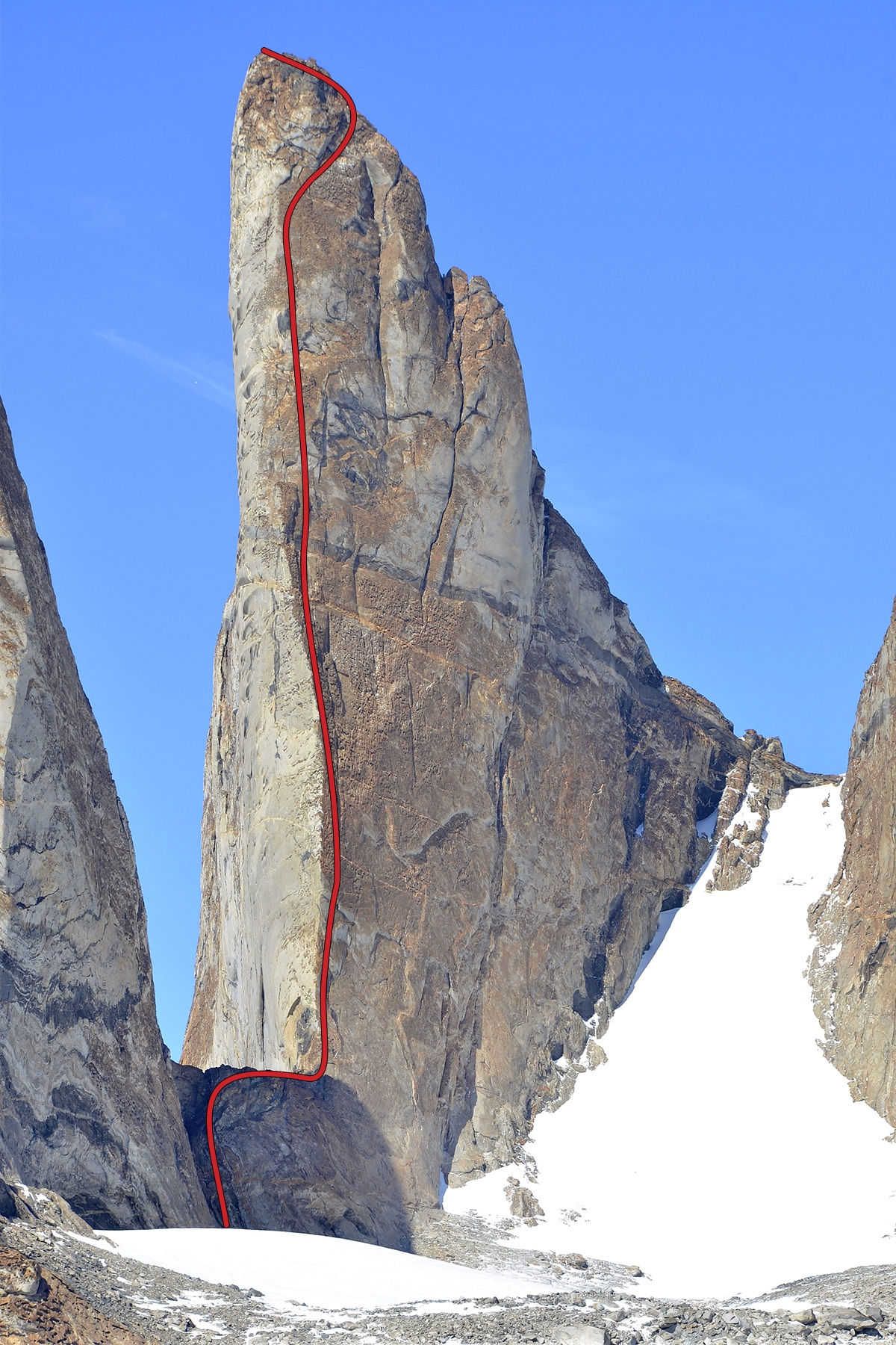 The first-ascent route (600m, VI 5.11 R A3+) up Bertha's Tower.