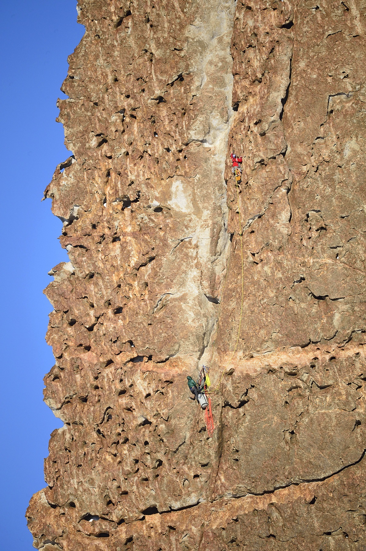 Mike Libecki and Freddie Wilkinson work through bizarre rock formations on the first ascent of Bertha's Tower.
