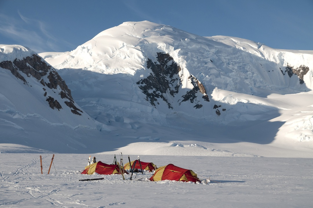 Second camp on the Belgica Glacier with Peak 1,475m behind.