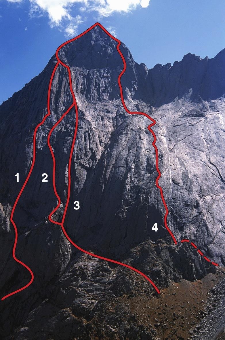 The west (Kara-su) side of Kotina (4,520m). (1) Dreaming Spires (Codrington-Cooper- Faulkner, 2012), to top of buttress. (2) An Inconvenient Truth (Fasoldt-Finkelstein, 2012). (3) Awesome Fucking Dihedral (Häbel-Wissmeier, 2012). (4) Czarna Wolga (Kuczera-Magiera-Stefaski, 2006).