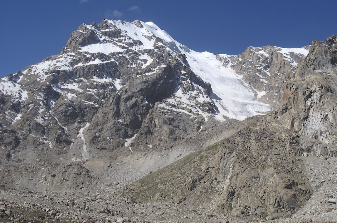 Koh-e-Qalat from the northeast. The 2012 ascent of the north top climbed the broad snow/ice couloir to the small col, and then left up the skyline ridge.