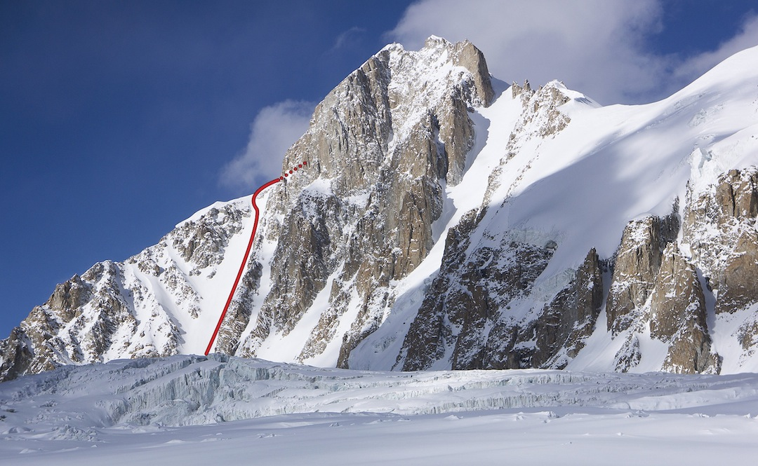 Koh-e-Pamir (6,320m Austrian map; 6,288m Polish map) from the southwest, showing the line of the 2012 attempt. The Italian Carlo Pinelli made the first ascent of this peak in 1971. It was climbed again by Austrians in 1975. The skyline ridge on the right leads toward unclimbed Peak 6,009m (Austrian; 5,950m Polish).