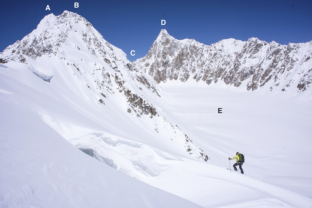 Ben Mitchell at the turnaround point on the north face of Peak 5,538m. (A) Koh-e- Zemestan (6,092m, both maps), thought to be unclimbed. (B) Koh-e-Zemestan East (6,080m, climbed in 1971 by Poles via the east ridge). (C) Kotal-e-Zemestan (5,650m pass). (D) Koh-e- Moshkel (6,063m Austrian; 6,103m, Polish), thought to be unclimbed. (E) Zemestan Glacier (Austrian map; Barabar Glacier, Polish map).