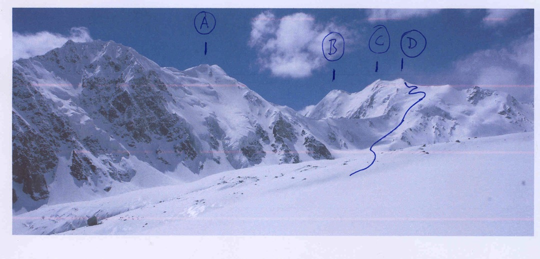 Looking northwest across the Northern Issik Glacier at (A) Peak 5,842m (Austrian map; 5,857m Polish map), thought to be unclimbed. (B) Koh-e-Seh Aspe Safed West, a.k.a. Koh-e-Maghrebi (6,040m), first climbed in 2005 via an approach from the north by Spanish. (C) Koh-e-Seh Aspe Safed (6,101m, thought to be unclimbed). (D) Koh-e-Seh Aspe Safed East (6,040m) and route of 2012 attempt. Well behind A and opposite B is Koh-e-Barbar (6,110m Polish map; 6,078m Austrian map), first climbed in 2005 from the south by Americans.