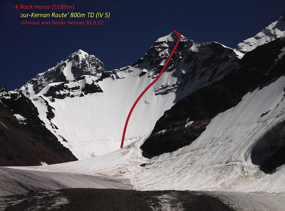 Rock Horse, showing the 2012 route (TD) on the northwest face. The peak had been climbed twice before.