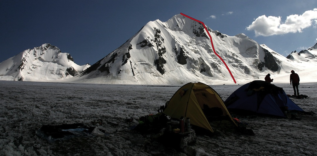 North face of Nochnoi Motyl, showing the North Face Corridor (2012). Peak to the left is Uighur.