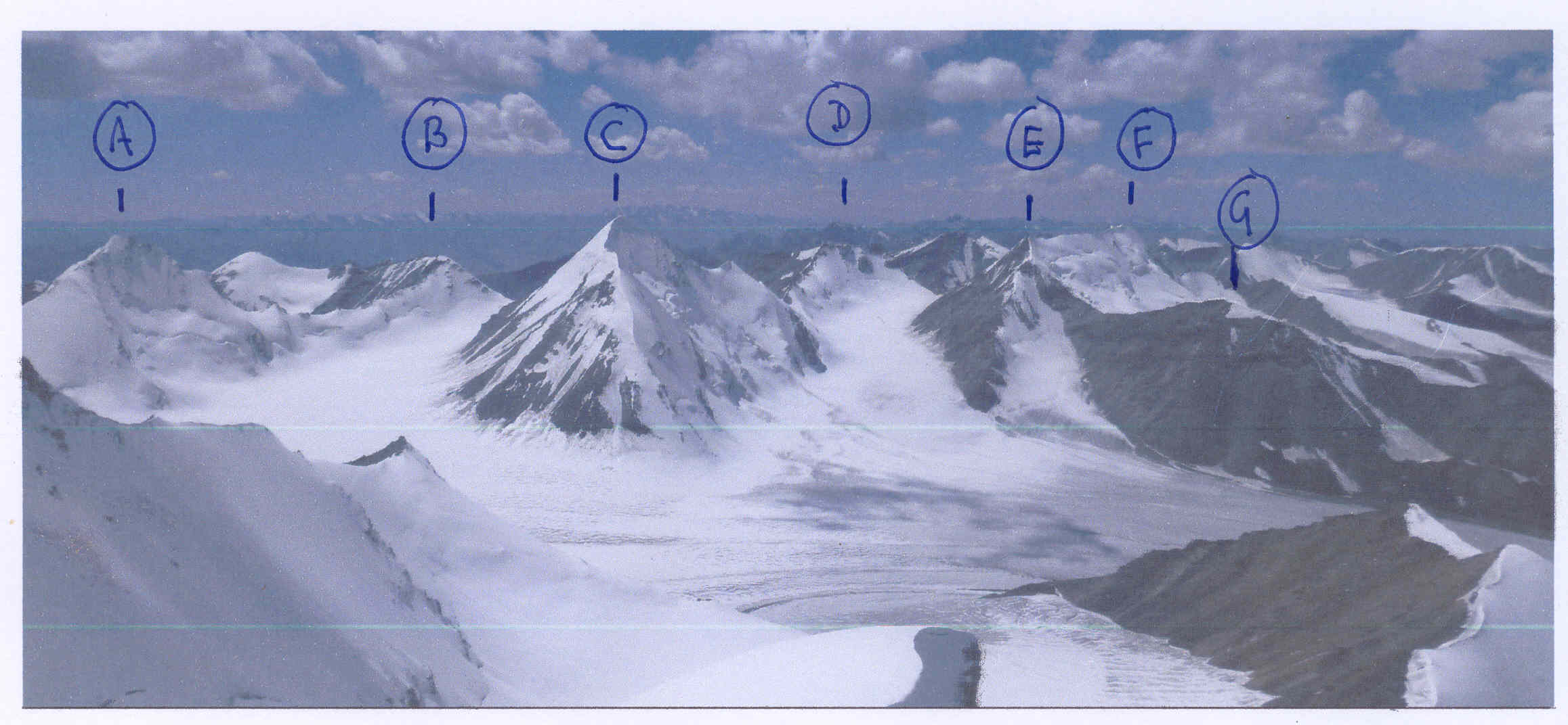 Looking west across the upper Dzhirnagaktu Glacier from Rock Horse. (A) Uighur (4,979m). (B) Krakow (4,841m). (C) Nochnoi Motyl (Night Butterfly, 5,065m). (D) Ledenaya Stre'coza (4,892m). (E) Ak-baital–Pt. Blindness (4,970m). (F) Ak-baital (4,981m). (G) Ak-baital Vostok (4,743m). Kucyk (Pony, 4,705m) is visible in lower right foreground.