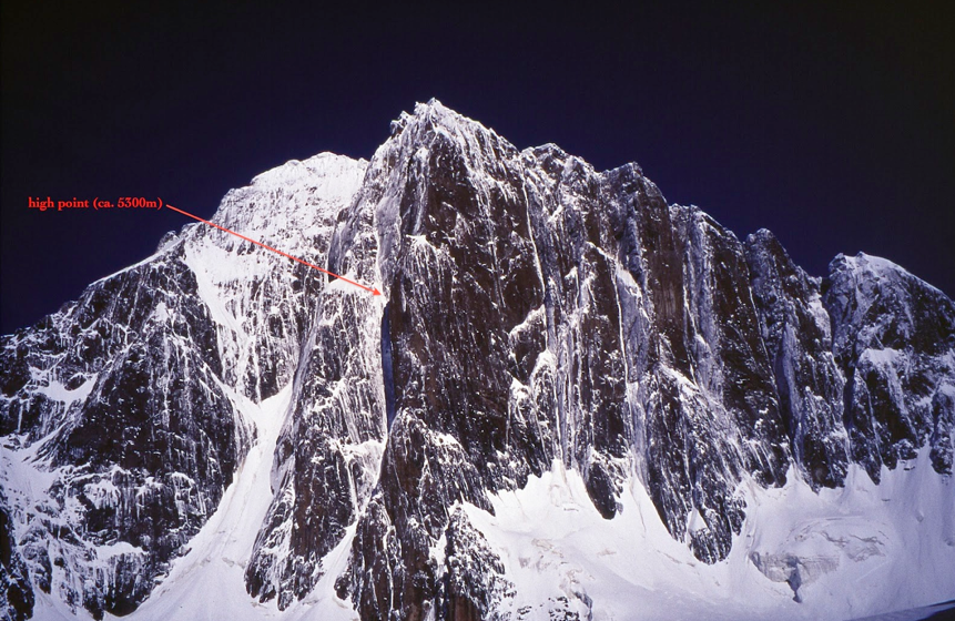 Highpoint of the 2012 Johnson-Johnson attempt on the much-tried southeast face of Kyzyl Asker (5,842m).