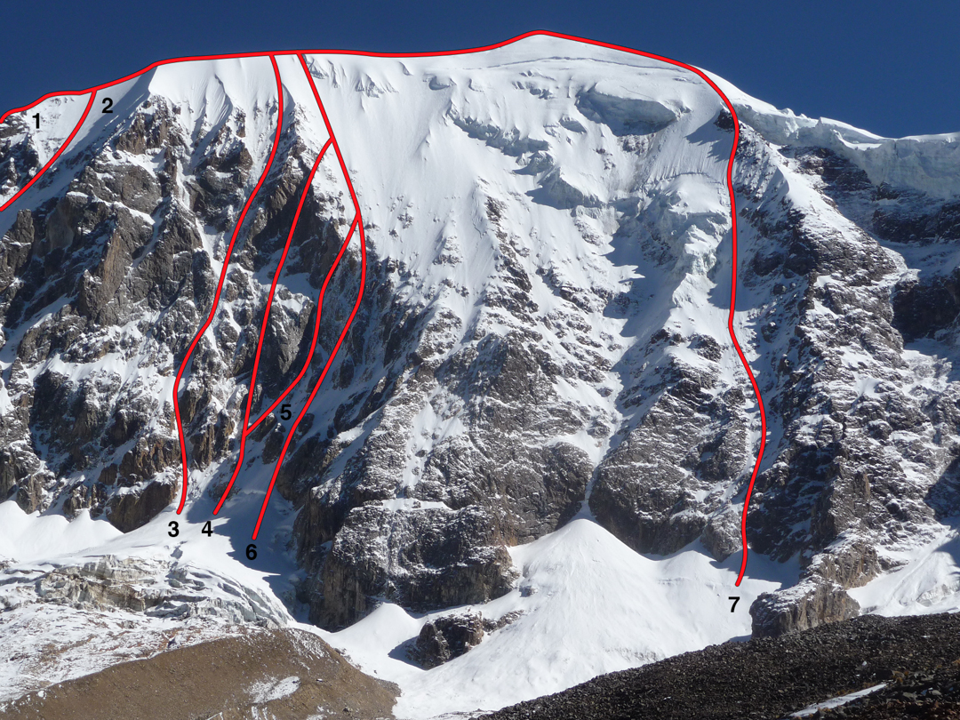South face of Illimani (6,439m). (1) Southwest ridge (1,450m, III 70°, Dowbenka-Ziegenhardt, 1983, but most probably descended in 1972 by Mesili and Sanchez during the third north-to-south traverse of the three main summits). (2) Nada es Seguro (1,450m, V WI3+, Hendricks-Hendricks-McNeill, 2001). (3) A line claimed to have been climbed in 1972 by Alain Mesili with Nicolas Jaeger (1,200m, TD, WI4 5.5). (4) Puerta del Sol (1,200m, ED1, WI5 R M5, Ichimura-Yokoyama, 2006). (5) Inti Face (600m, TD+, WI5, Satoh-Yamada, 2006). (6) Phajsi Face (1,200m, TD+, WI4+, Satoh-Yamada, 2006). (7) South Face Original (1,200m, D+, 60-75°, Jacquier-Mesili, 1978)