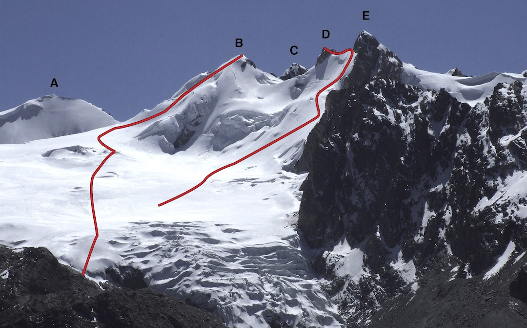 [This page, top] Palomani Group from the south: (A) Palomani Grande (5,723m). (B) Palomani Tranca Central (5,633m). (C) Palomani Tranca Main (5,638m), climbed in 1985 and possibly not since. (D) Slovenski Tower (5,595m). (E) Palomani Sur (5,626m). Left line: southwest face, climbed/skied by Steharnik. Right line: southwest face, Slovenian Route. In 2003 Charlie Netherton (U.K.) and Pedro Quispe (Bolivia) followed the skyline from the right as far as Palomani Central, in an attempt to traverse the entire Palomani Group. In doing so they made the first ascent of (E), (D), and the second of (B). They reached a foresummit of Palomani Tranca Main