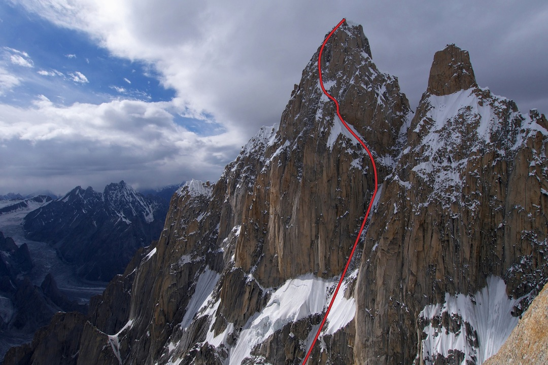 The east face of K7 (6,934 meters) from Link Sar. The climb went at AI5 M6 and took 49 hours round-trip.