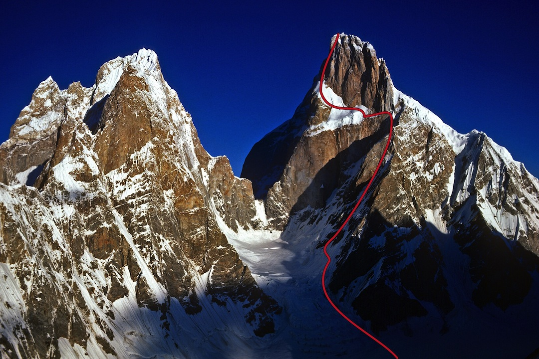 The Ogre II (left) and the Ogre, with the new route marked (5.9X AI5 M6R). This was only the third ascent of the 7,285-meter peak in 35 years.