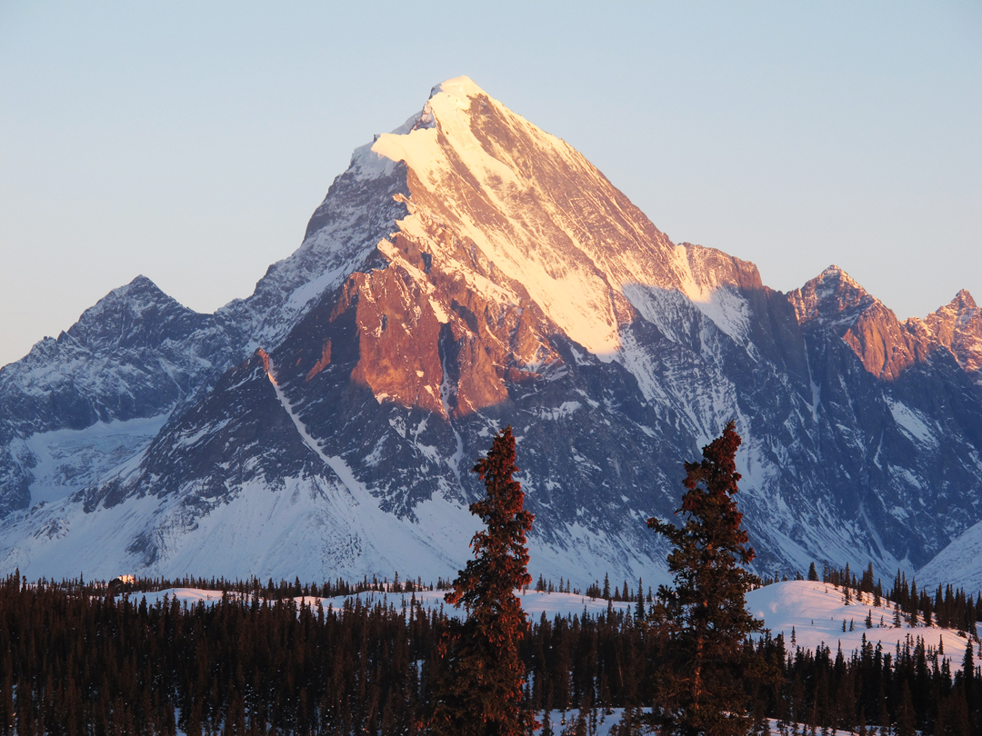 Mt. Hesperus has only been climbed once, via the ca 7,000-foot west face, seen here from Rob Jones' lodge.