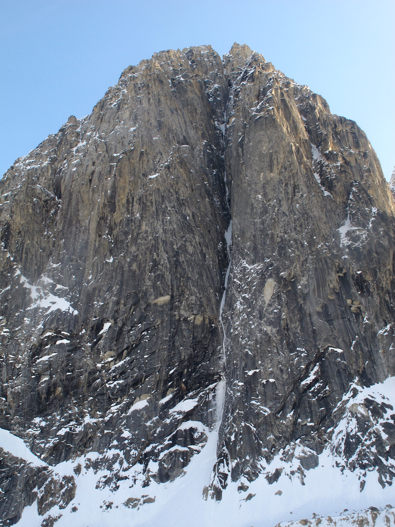 West face of unclimbed 7,000' peak between Hesperus and Apocalypse, with ca 3,000 feet of relief.