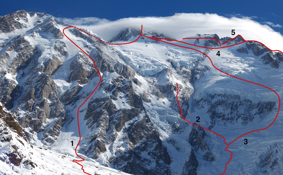 Diamir Face of Nanga Parbat in winter. (1) Normal (Kinshofer) Route. (2) Mummery Rib attempted in 2013 to 6,400m. Mummery and his Gurkha companion Rajobir reached 6,100m in 1895. (3) 1978 Messner Route. (4) Line used by Sandy Allen and Rick Allan on July 14-15, 2012 to reach the summit. (5) Line attempted by Sandy Allen, Rick Allan, Lhakpa Rangdu and Lhakpa Zarok on July 12. Other routes and variants on this face are not shown.