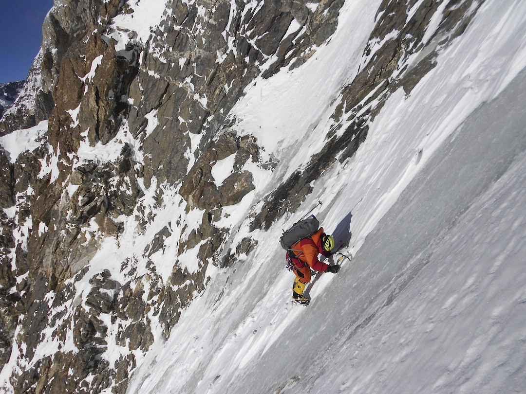 Daniele Nardi climbing hard winter ice during a 2013 attempt on the Mummery Rib.