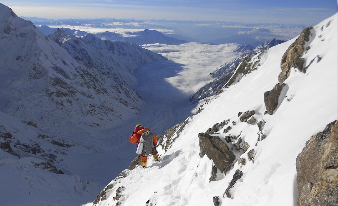 Daniele Nardi descending toward the Diamir Valley after the first attempt on the Mummery Spur.