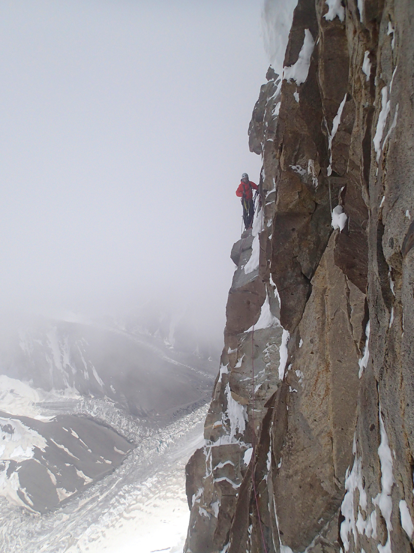 Misty conditions on the headwall. Younghusband Glacier far below.