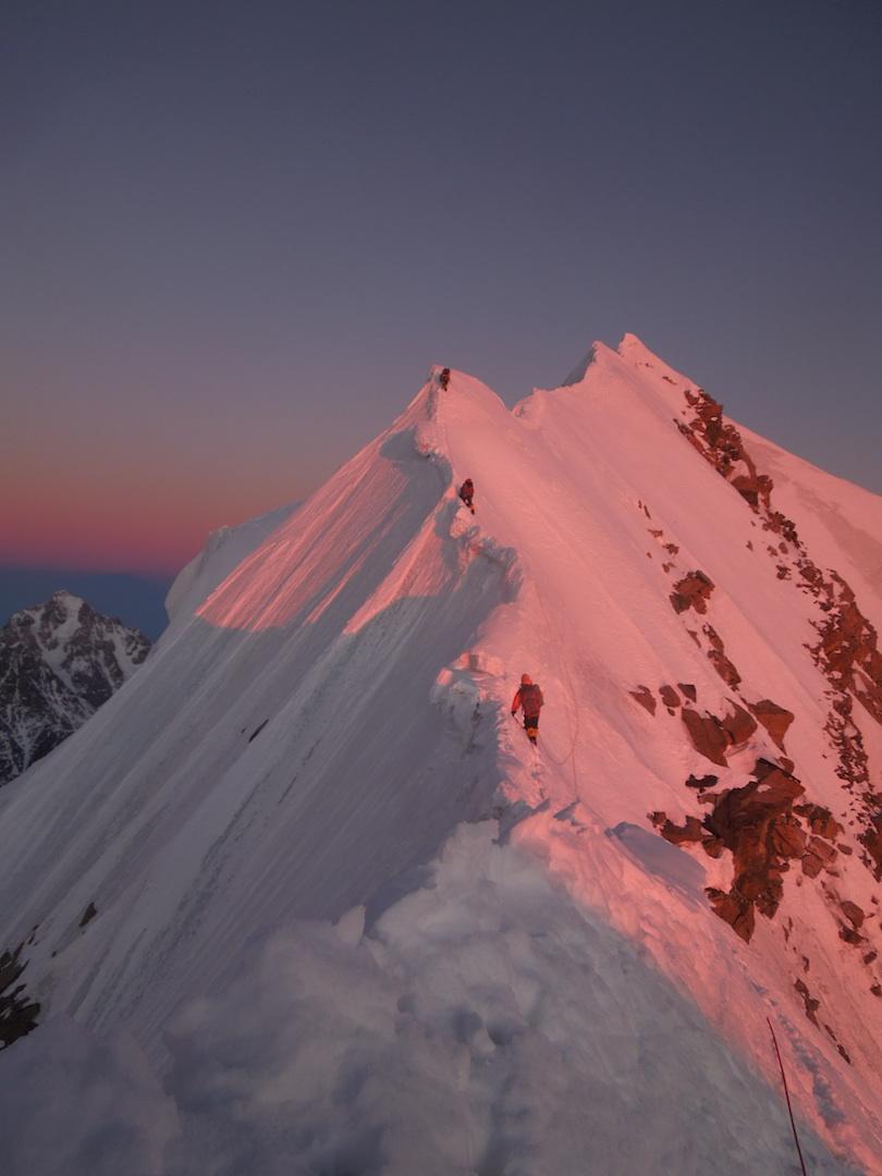 Climbing Jangi-Tau West on December 31, 2013. Temperatures during the traverse averaged –30°C.