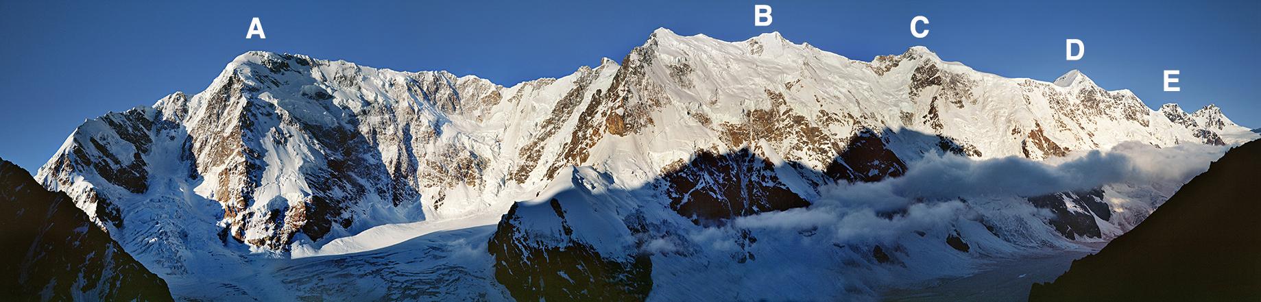 The ca 13km Bezengi Wall from the north. (A) Main Shkhara (5,200m). (B) Main Jangi-Tau (5,085m). (C) Katyn-Tau (4,974m). (D) Gestola (4,860m). (E) Lial'ver (4,350m).