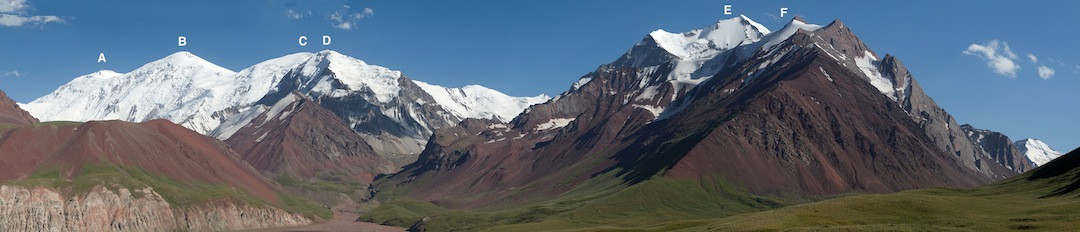 Kichkesu peaks: (A) Chorku (6,283m). (B) Turkvo (6,243m). (C) 5,917m. (D) 5,408m. (E) Pogranichnikov (5,434m). (F) Meretskogo, climbed in 2013 by the left flank.