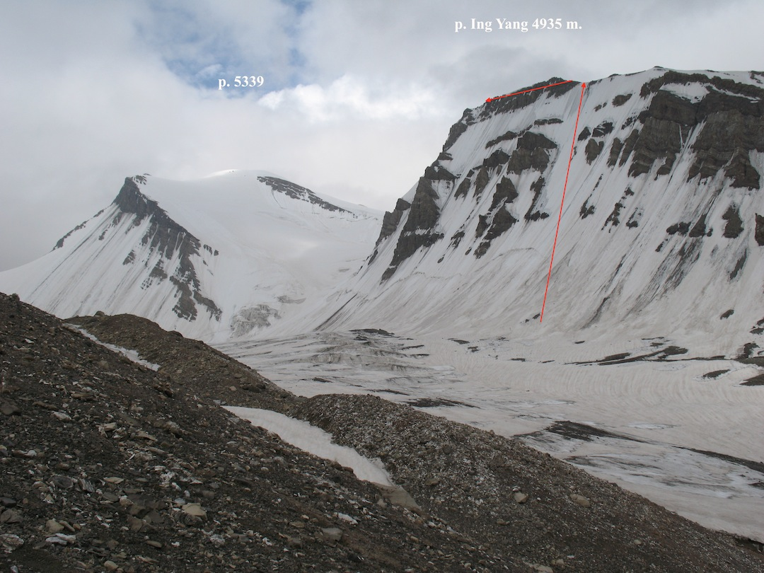 First ascent route on Ing Yan Peak.