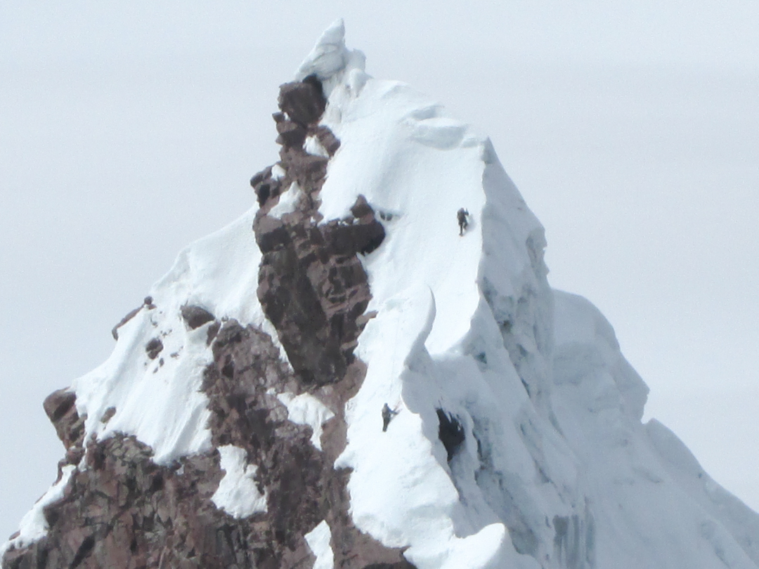 Luis Crispin and Nathan Heald near the summit of Puca Punta.