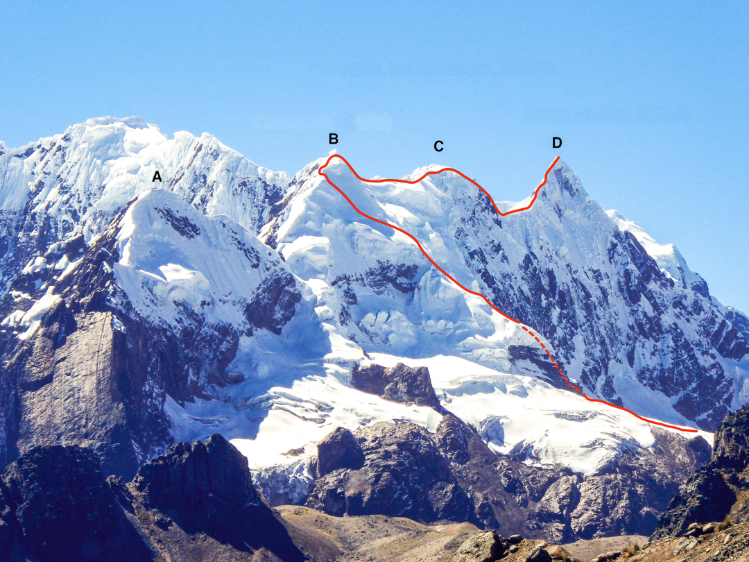 The peaks of (A) Tinki (B), Nevado Caracol, (C) Concha de Caracol, and (D) Puca Punta as viewed from Jampa Pass. The line of the 2013 traverse is shown.