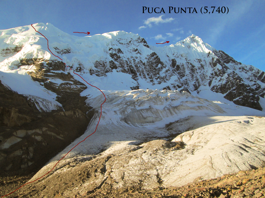 A more direct view of the start of the traverse via Nevado Caracol.