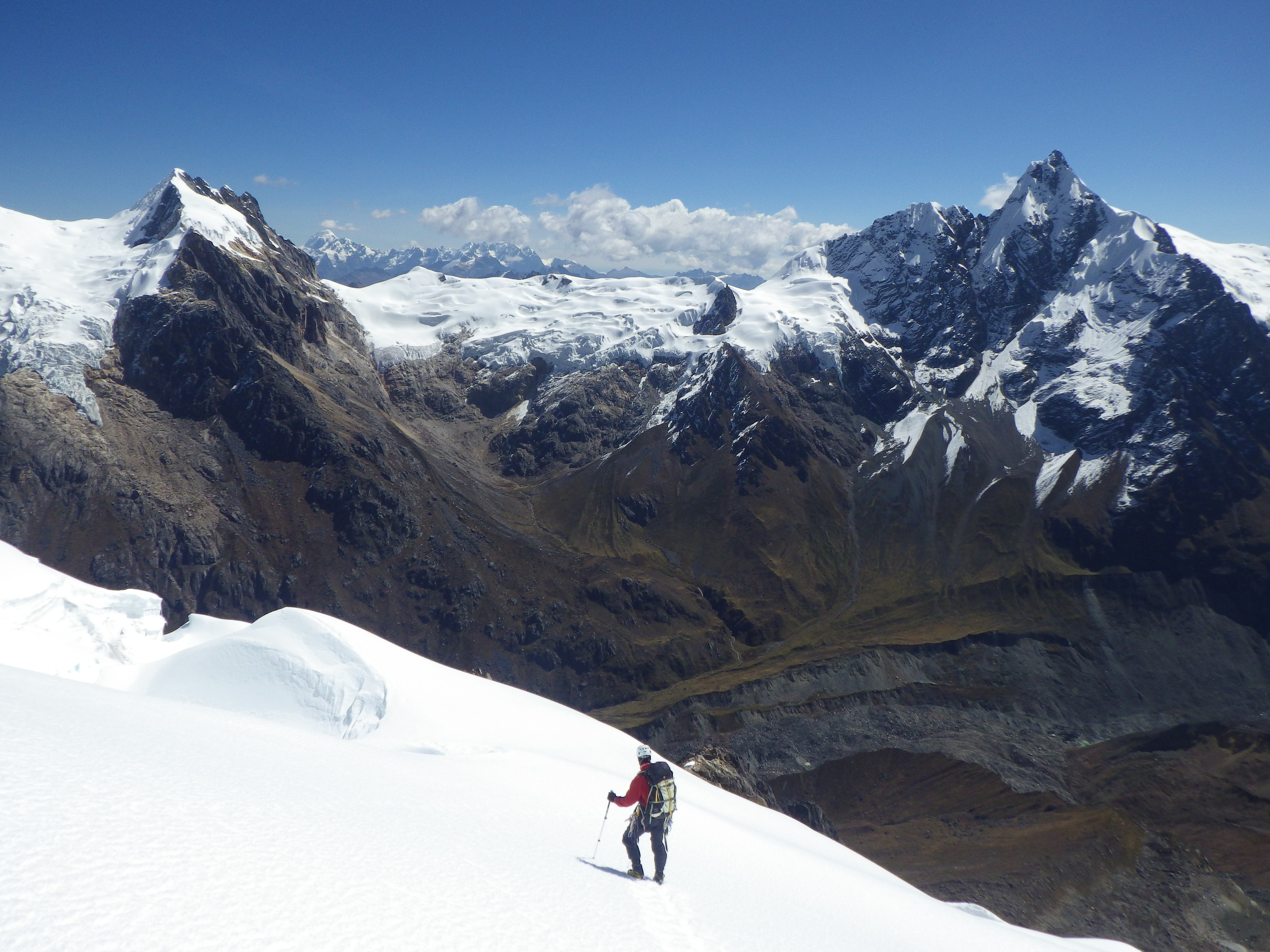 Choquetecarpo (pictured right) as seen from Pumasillo. The east ridge forms the right-hand skyline.