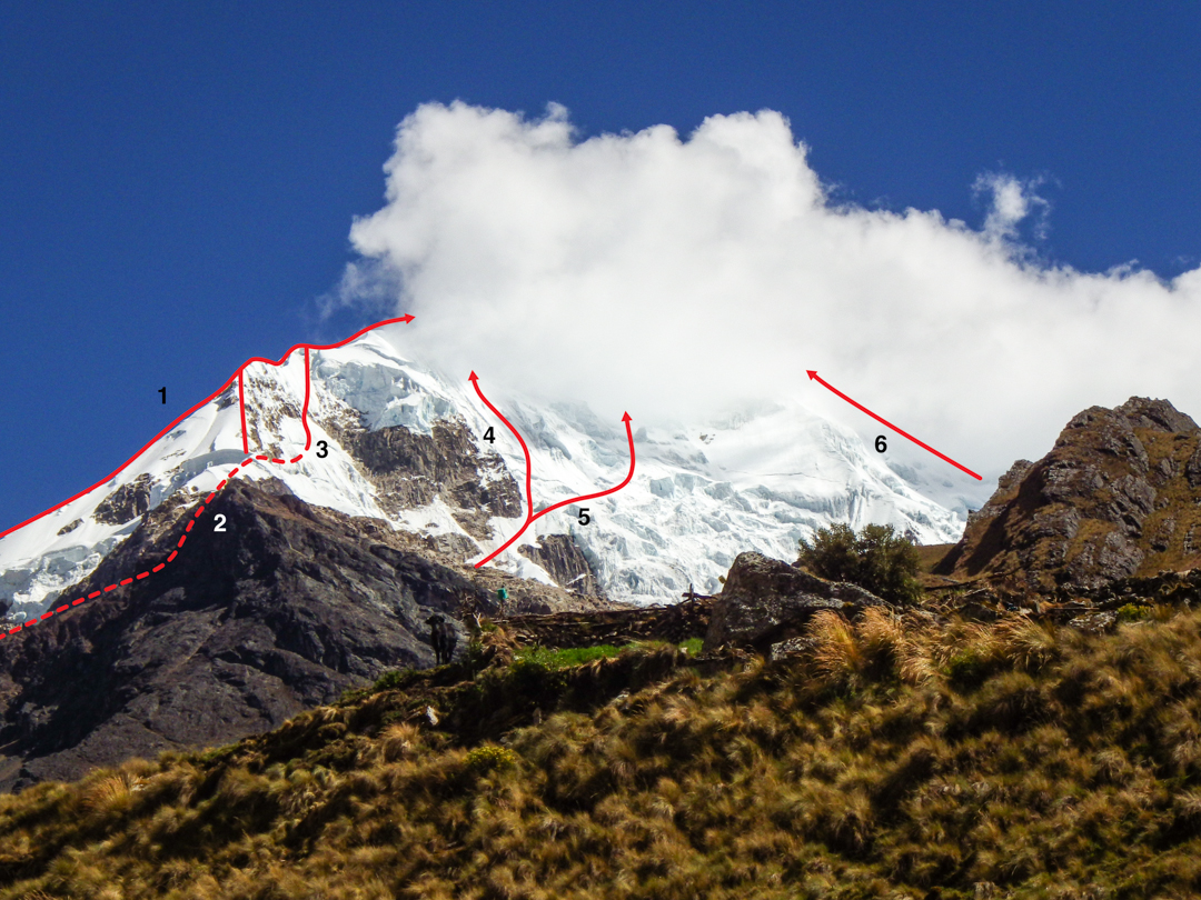 The north aspect of Nevado Salcantay showing (1) east ridge, (2) northeast ridge, (3) northeast face, (4) north face [to east summit], (5) north face [to west summit], and (6) north ridge.