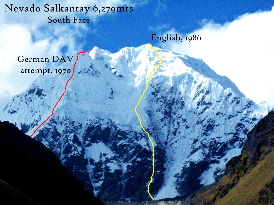 The south face of Salcantay, showing the successful English route and the attempted German route.