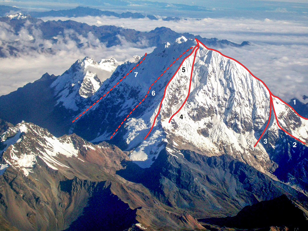 The east-southeast aspect of Nevado Salcantay showing (1) northeast ridge, (2) east ridge, (3) southeast buttress [1973], (4) southeast face [1978], (5) southeast ridge [1968], (6) south face [1986, approximate], and (7) south face attempt [1970, approximate].