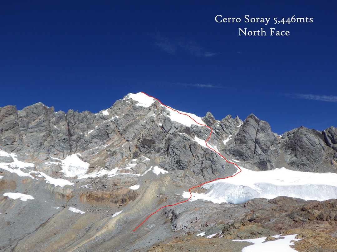 Cerro Soray, showing the north face route.