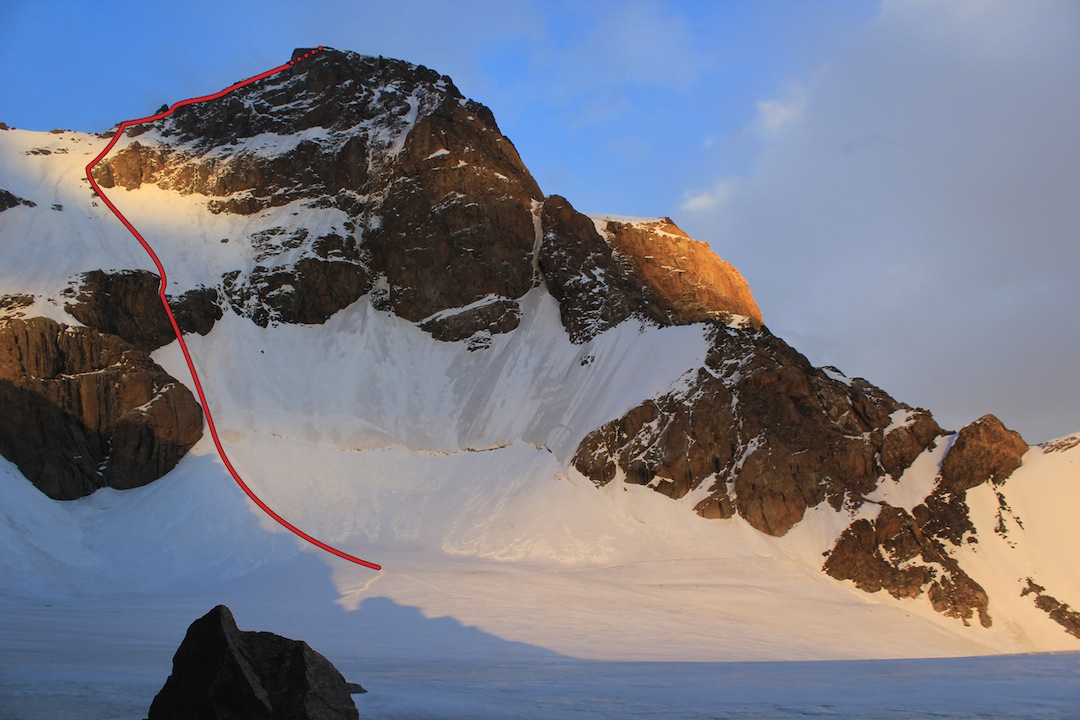 The first-ascent route up the northwest face and north ridge of Peak After You (5,318m), highest summit of the Djangart region.