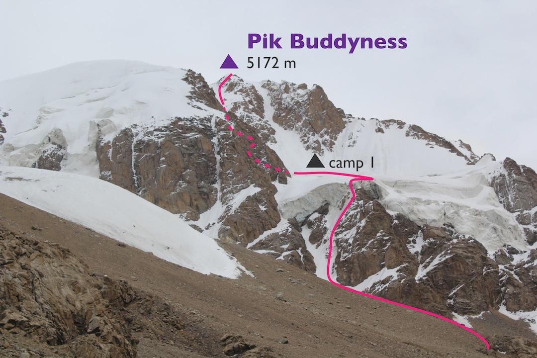 First ascent line on Peak Buddyness.