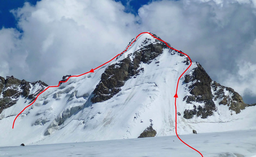 Ascent and descent routes on the north side of Peak Kasparov.
