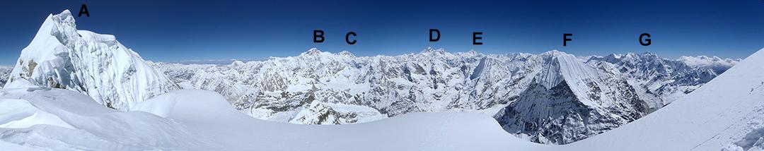 The wonderful panorama from ca 6,650m on the south-southeast ridge.  (A) Kang Nachugo. (B) Cho Oyu. (C) Gyachung Kang. (D) Everest. (E) Makalu. (F) Chobutse (a.k.a Chobuje; summits of Tarkargo and Tengi Ragi Tau just visible behind. (G) Likhu Chuli group, with top of Numbur visible behind.