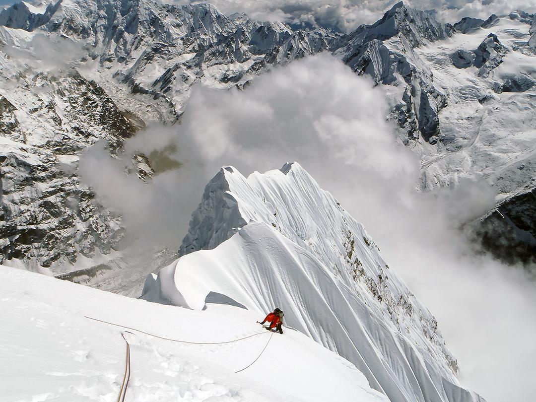 Emerging onto the south-southeast ridge of Kang Nachugo.