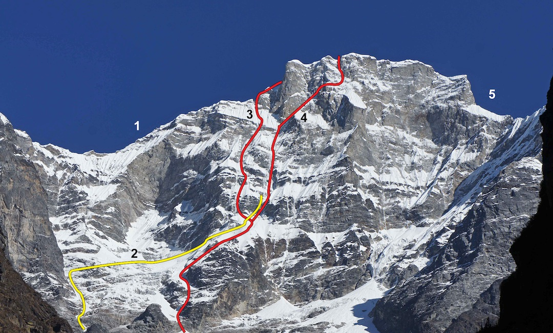 The south face of Gaurishankar. (1) Southwest ridge (1979, to Gauri). (2) Polish 1983 attempt and high point on south face. A similar line was followed by Japanese in 1985. (3) Slovenian route (1983). (4) Peine Prolongée (2013). (5) Southeast ridge (1984, to Gauri).